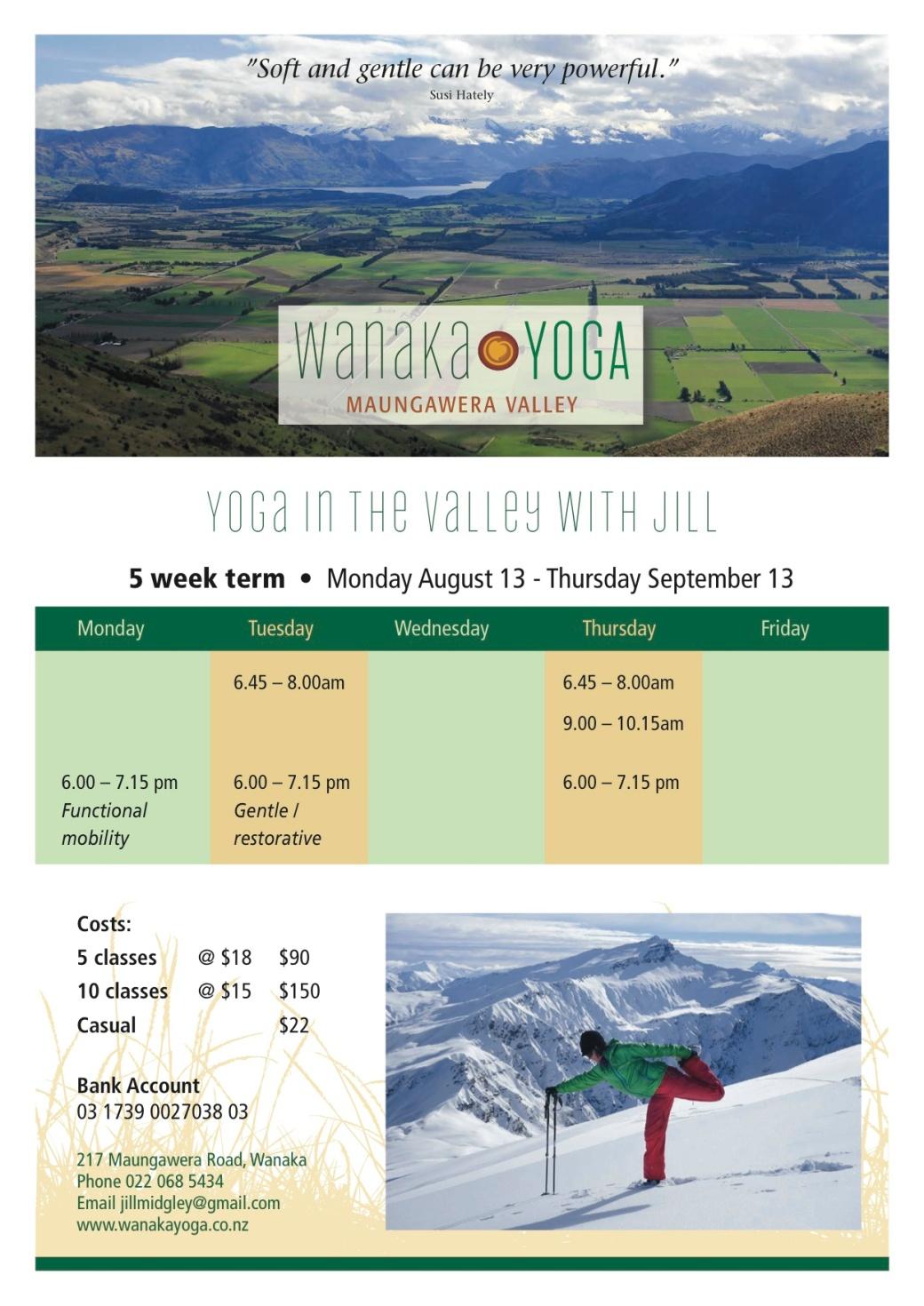 Wanaka Yoga timetable August copy