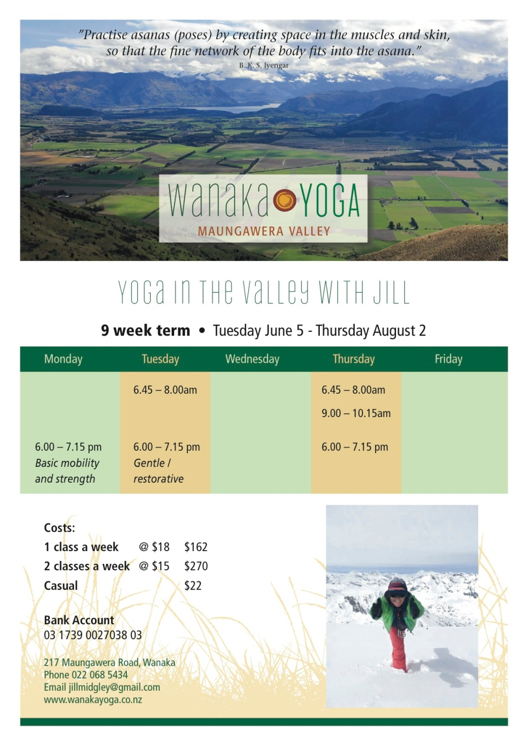 Wanaka Yoga timetable June copy