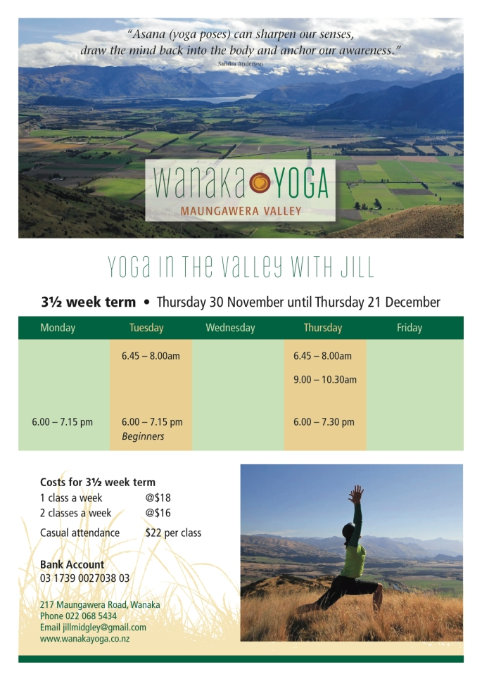 Wanaka Yoga timetable Nov